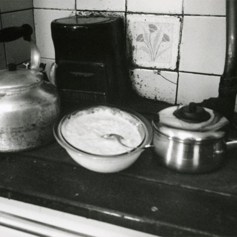 Porridge with fresh cows milk on rayburn, Boleigh Farm